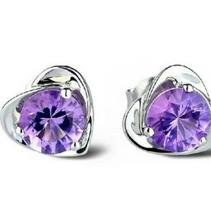 925 Sterling Silver Amethyst Crystal Heart Studs